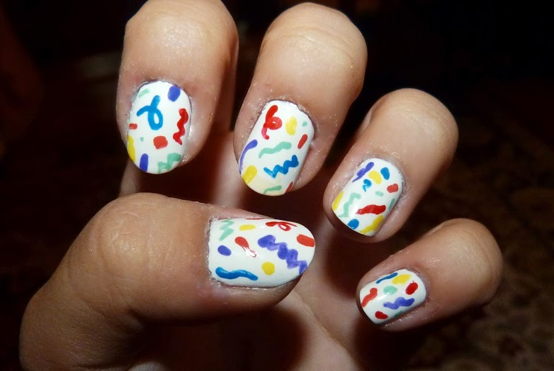Abstract Colorful Birthday Nails