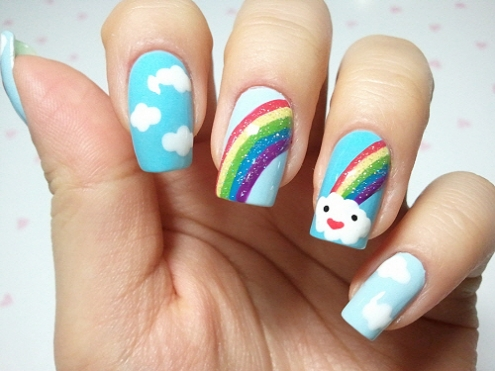 Beautiful Rainbow with Blue Clouds Nails