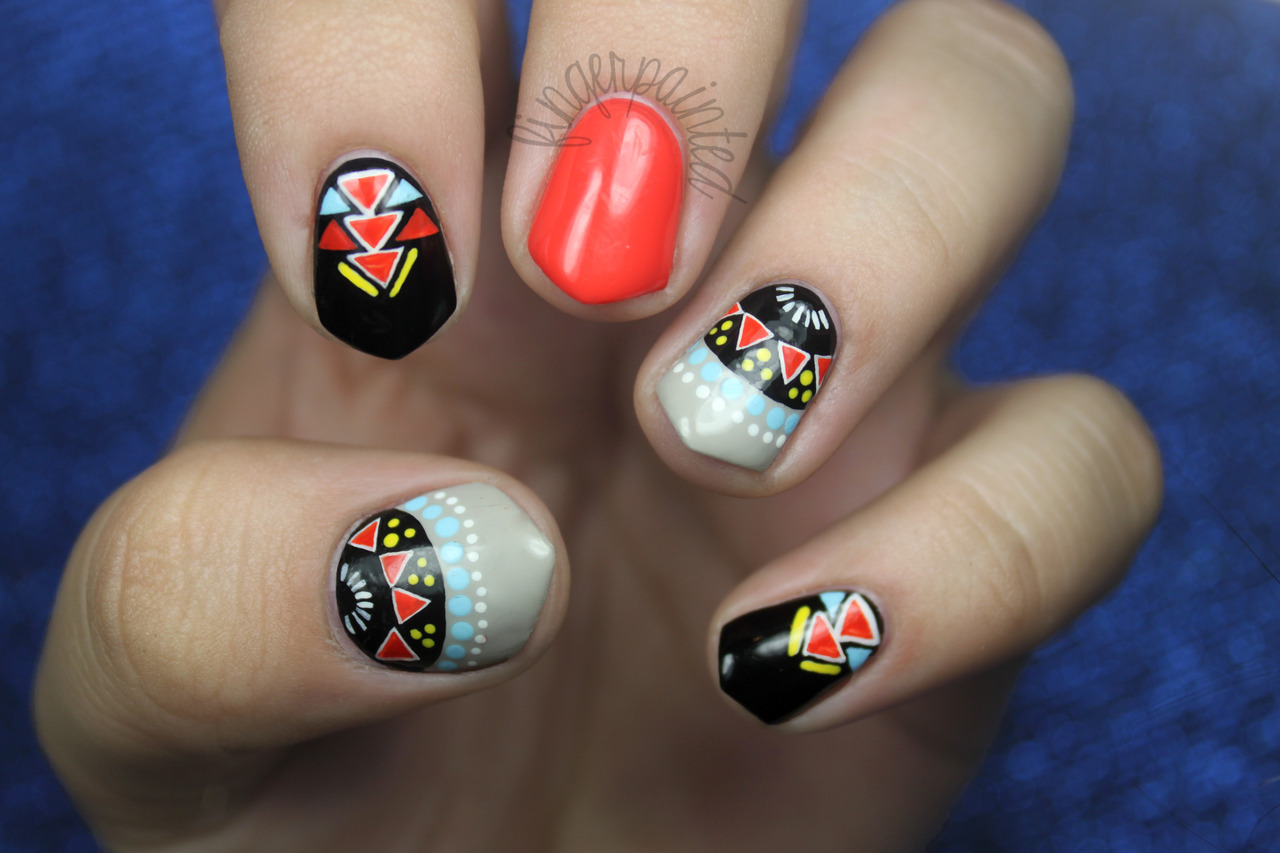 Colorful Tribal Manicure