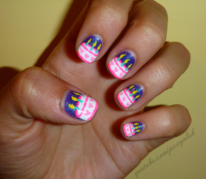 Decorate you Birthday Cake on your Nails