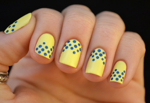 Lemon Yellow with Blue Dots
