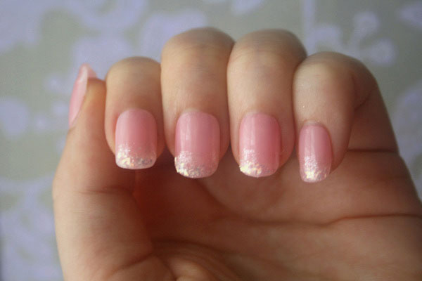 Light Baby Pink with Glitter Nails