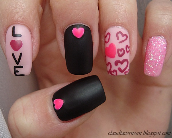 Love with Sparkling Pink Hearts