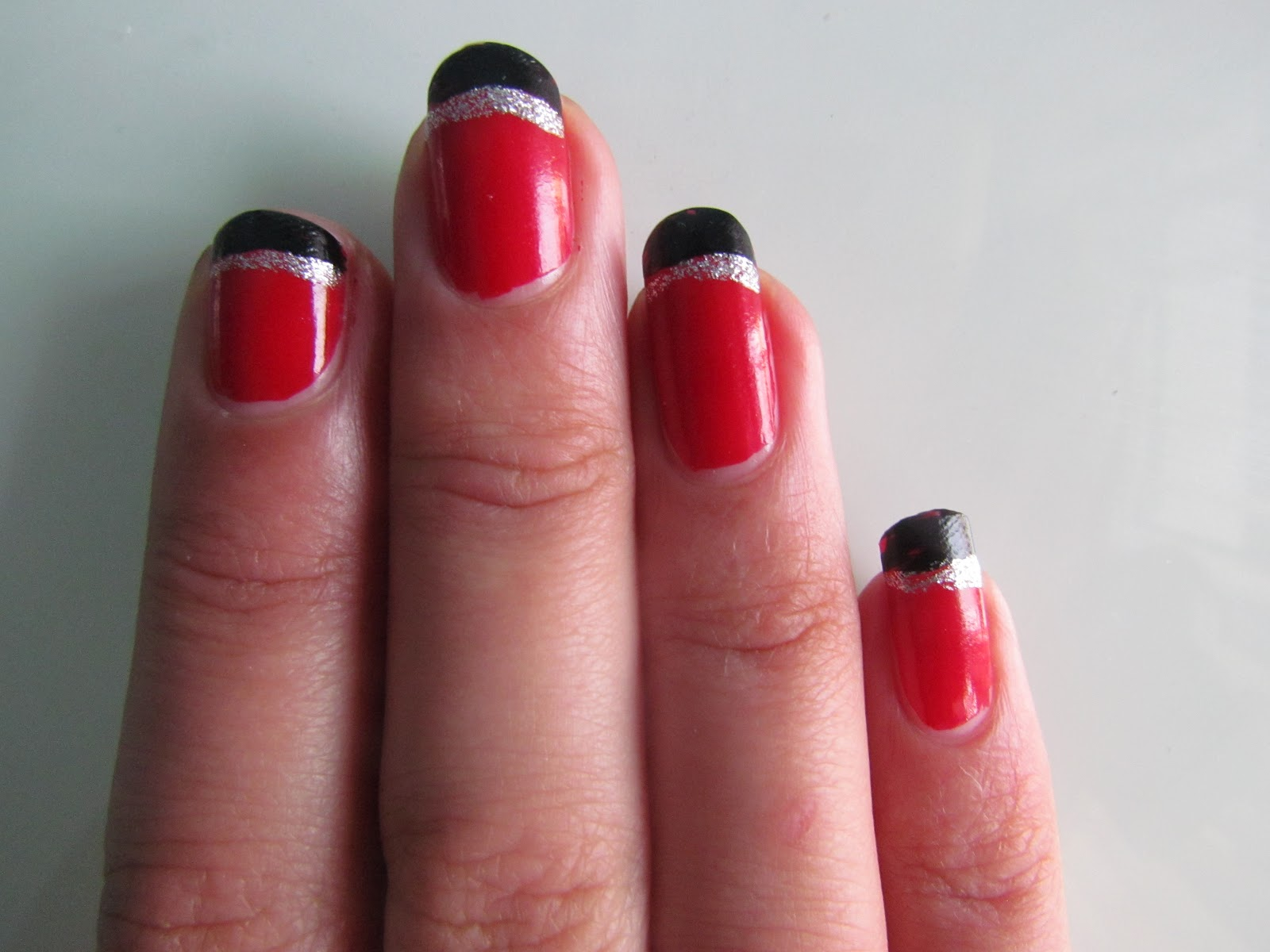 Red And Silver French Manicure- HireAbility