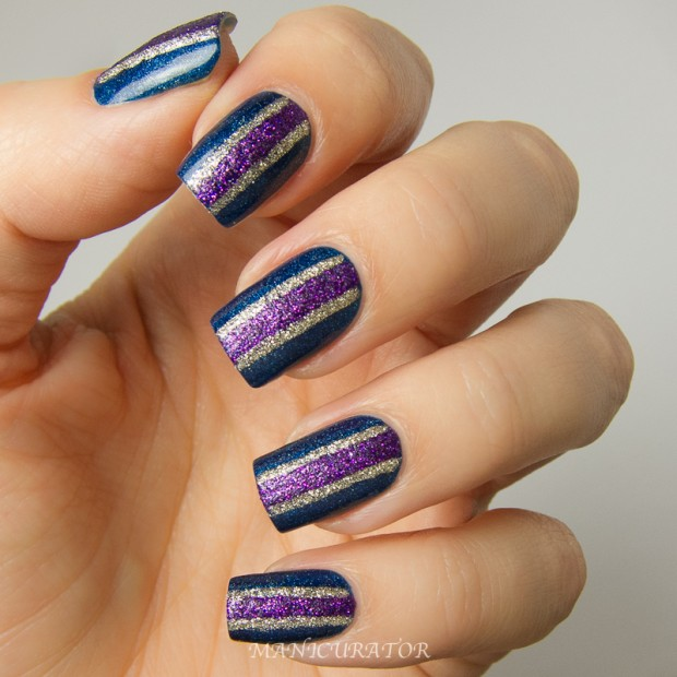 Shiny Glitter in Colorful Stripes