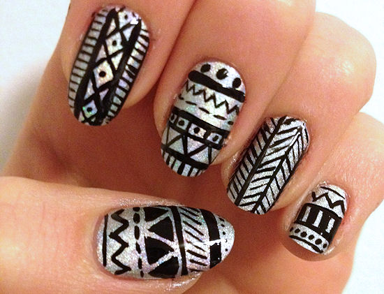 Sizzling Silver with Black Tribal Nails