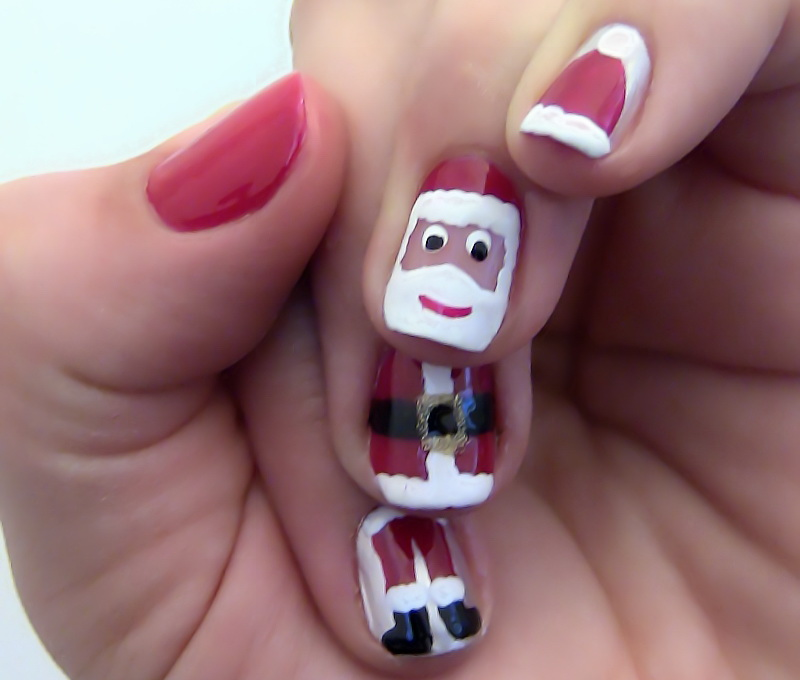 Spread out the Santa on All Four Fingers
